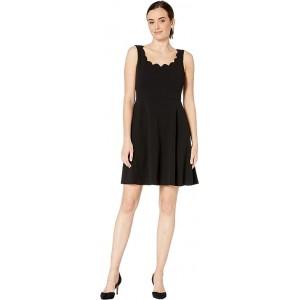Drapey Crepe Sleeveless Fit & Flare Dress w/ Scallop Neckline Black