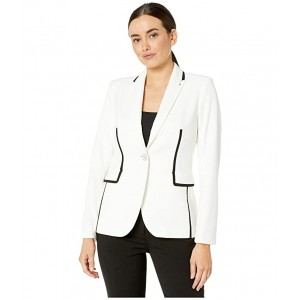 Textured One-Button Contrast Jacket Ivory/Black