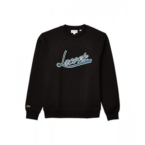 Lacoste Short Sleeve Solid Crew Sweatshirt with Lacoste Script Print on Front Black
