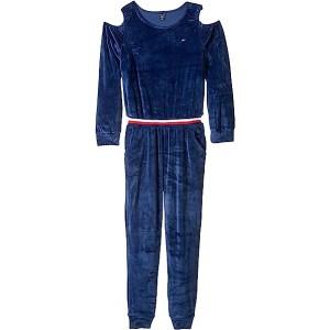 Cold Shoulder Stretch Velvet Jumpsuit (Big Kids) Flag Blue