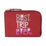 Rfid Travel Passport Zip Around Poppy Red