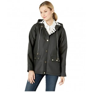 Snap Front Jacket with Hood Black