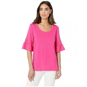 Laced Sleeve Flare Tee Electric Pink