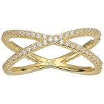 Precious Metal-Plated Sterling Silver Pave Nesting Ring