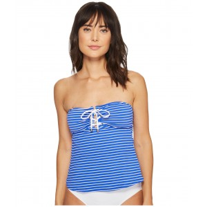 Resort Stripe Laced Tubini Top Blue