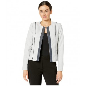 Short Jacket with Contrast Trim Natural Multi