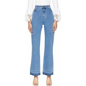 High-Waist Jeans with Raw Hem in Ink Marine Ink Marine