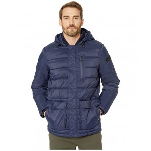 Hooded Puffer w/ Oversized Pockets Navy