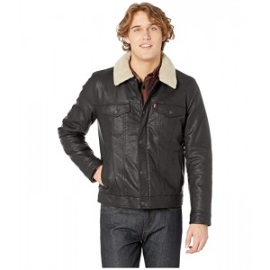 Levis Classic Faux Leather Trucker with Removable Sherpa Collar Black