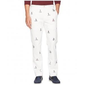 Cotton Stretch Twill Bedford Flat Pants White/Embroidered