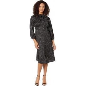 3/4 Sleeve Polka Dot A-Line Dress w/ Tie Neck