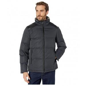 Zip Front Puffer w/ Faux Fur Inner Trim Slate Grey