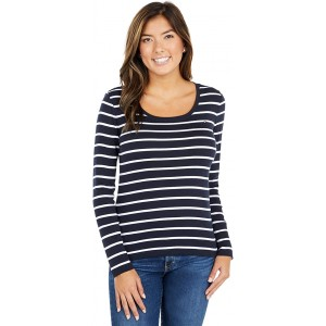 Tommy Hilfiger Long Sleeve Stripe Flag Tee Sky Captain/Bright White