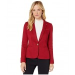 One-Button Sweatshirt Jacket Crimson