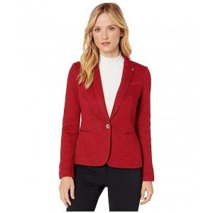 One-Button Sweatshirt Jacket Crimson