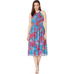Pleated Bodice with Shirring at Waist Midi Dress Honolulu/Apple Multi