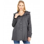 Wool A-Line Reefer Coat with Removable Hood