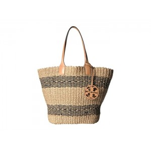 Miller Straw Stripe Tote Natural/Black