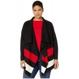 LAUREN Ralph Lauren Plus Size Open-Front Wool Sweater Polo Black/Lipstick Red/Mascarpone Cream