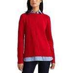 LAUREN Ralph Lauren Layered Cotton Sweater Lipstick Red