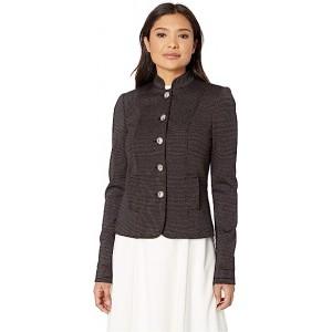 Button Front Mandarin Collar Jacket Black Multi