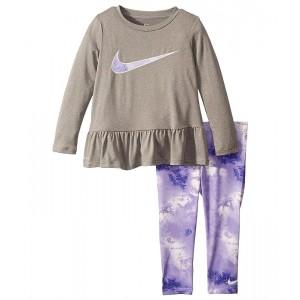 Nike Kids Dri-FIT Peplum Tunic Top and Leggings Two-Piece Set (Toddler) Purple Agate