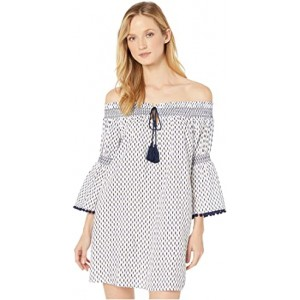 Canyon Sky Off-the-Shoulder Tunic with Fixed Ties Cover-Up White