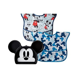 Disney Mickey Silicone Grip Dish w/ Bib 2-Pack