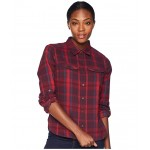 Silver Ridge Long Sleeve Flannel Shirt Rich Wine Ombre Window Plaid
