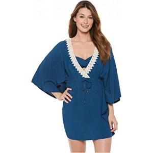 Arcadian Breeze Crochet Trim Flutter Tunic Cover-Up Blue