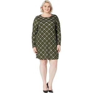Plus Size Bias Plaid Long Sleeve Dress