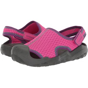 Crocs Kids Swiftwater Sandal (Toddleru002FLittle Kid) Neon Magenta/Slate Grey