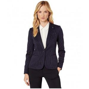 Pinstripe One-Button Sweatshirt Jacket Midnight/Charcoal