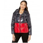 Shiney Color Block Puffer w/ Hood Red/Navy Combo