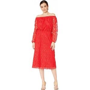 Vineyard Lace Midi Long Sleeve Peasant Dress Apple