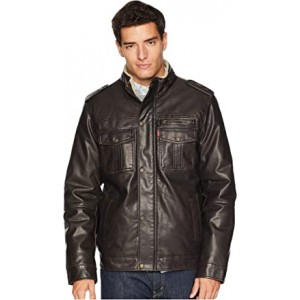 Two-Pocket Military Trucker with Sherpa Lining Dark Brown