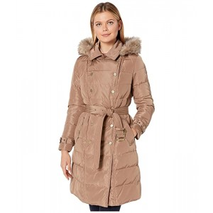 Horizontal Double Breasted Trench Faux Fur Trim