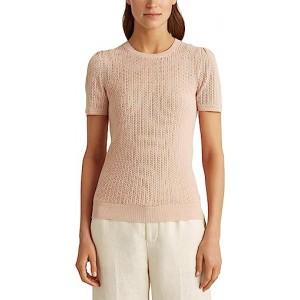 Pointelle Cotton Blend Sweater Pink Hydrangea