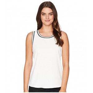 Sleeveless Woven Pullover Top w/ Trim Ivory