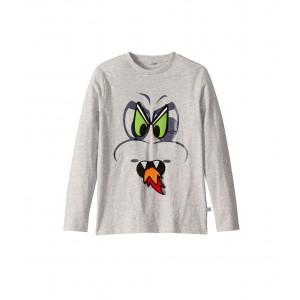 Dragon Eyes Long Sleeve T-Shirt with Badges (Toddler/Little Kids/Big Kids) Grey