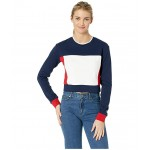 Athletics Long Sleeve Crop Top Pigment/Team Red/White