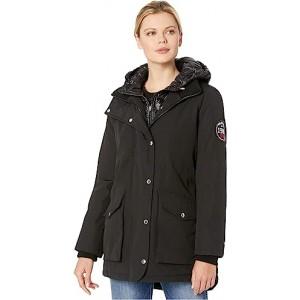 Faux Vest Hooded Parka w/ Patch Black