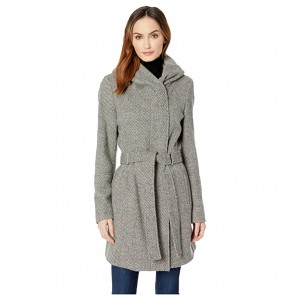 Double Face Wool Coat with Oversized Hood and Belt Closure Grey