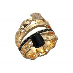 Precious Metal-Plated Sterling Silver Mercer Link Stacked Ring
