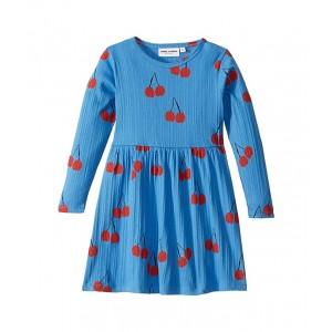 Cherry Long Sleeve Dress (Infant/Toddler/Little Kids/Big Kids) Blue