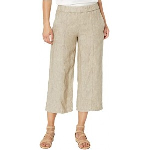 Petite Washed Organic Linen Delave Pull-On Wide Cropped Pants Khaki