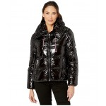 Shiney Color Block Puffer w/ Hood Black