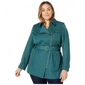 Plus Size Zip Front Trench