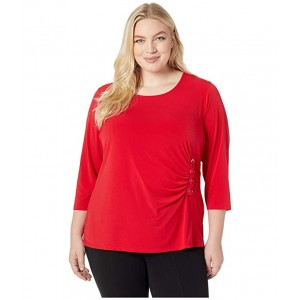 Plus Size 3/4 Sleeve Knit with Lacing Rouge