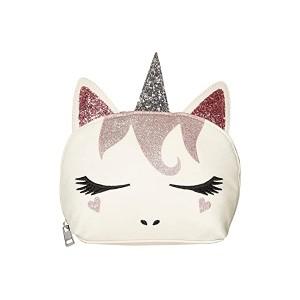 Glitter Hair Unicorn Cosmetic Bag White
